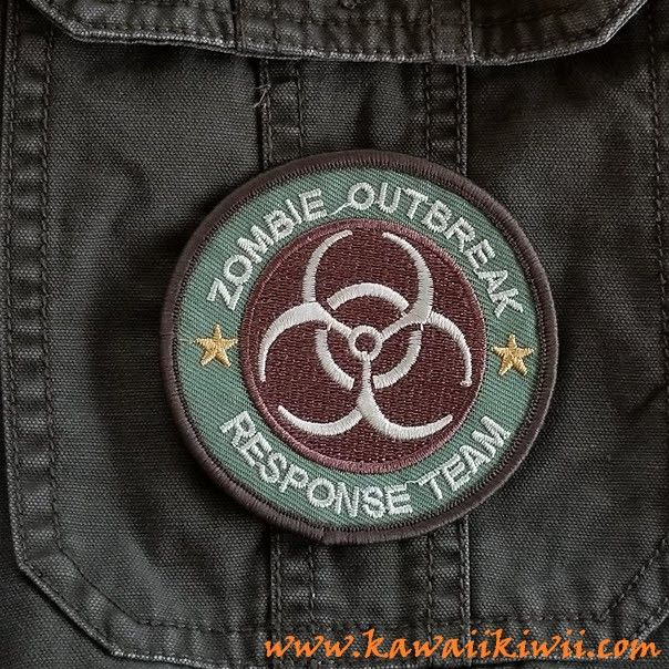 """""""Zombie Outbreak Response Team"""" iron on patch from Kawaii Kiwii.  Be prepared for the zombie apocalypse with your very own """"Zombie Outbreak Response Team"""" patch!   Now you are ready for action! Iron on patches, badges, pins from anime, sci-fi, fantasy, TV series, movies and more.  From www.kawaiikiwii.com"""