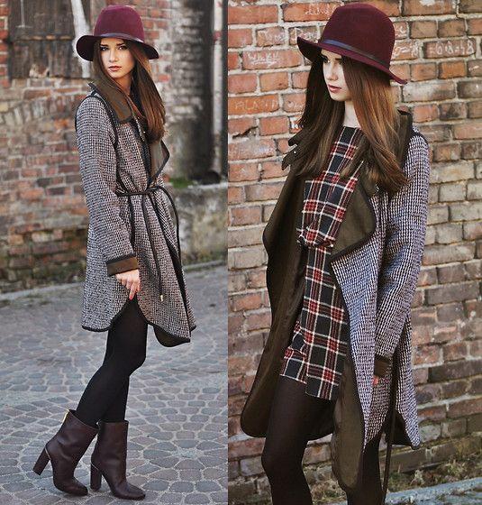 Purificaciongarcia Coat, Purificaciongarcia Shoes, Pull & Bear Hat, Romwe Dress