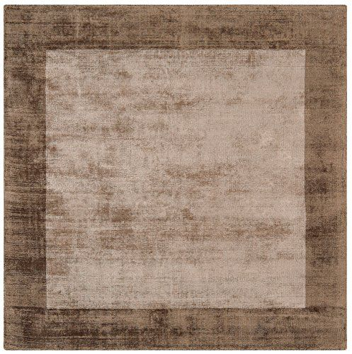 Teppich Wohnzimmer Carpet Hochflor Design BLADE BORDER SHAGGY UNI RUG 100 Viskose 160x160 Cm Quadratisch