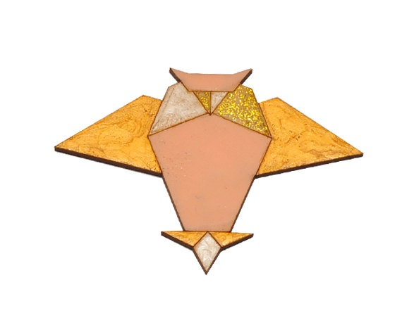 origami owl brooch golden treasure by Origagas on Etsy, $15.00