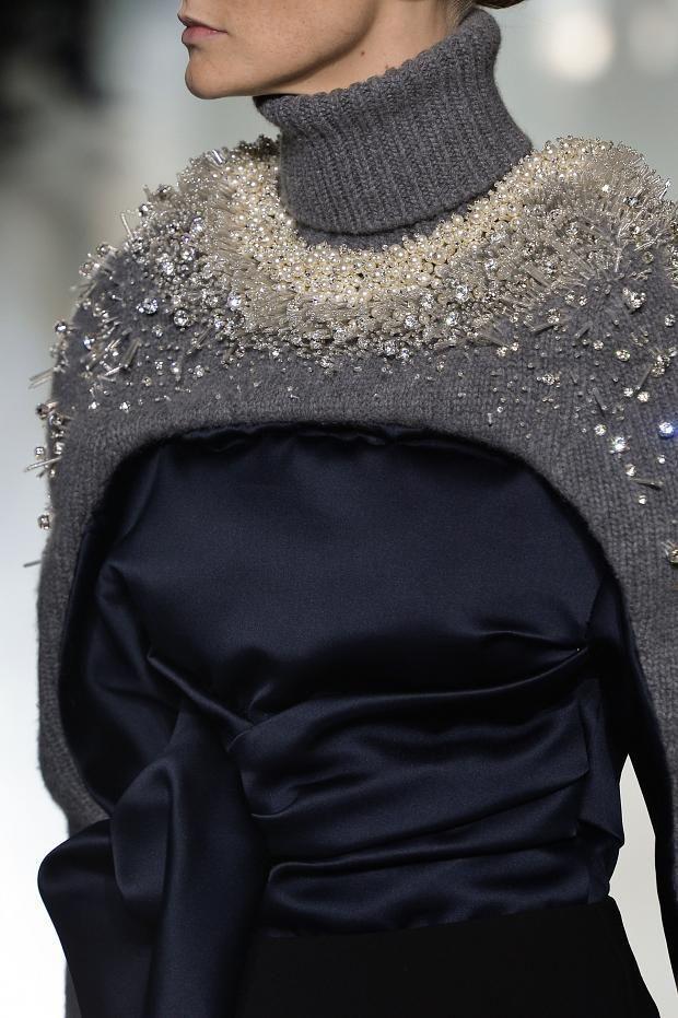 Silk top with pearl & crystal encrusted knit; close up fashion details // Balenciaga Fall 2014