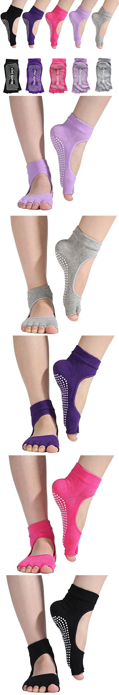Womens 5 Pairs Half Toe Yoga Socks Non Slip Grip Socks for Barre Pilates