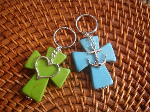 Cross Key Chains With Charm By Southerncharmde On Etsy