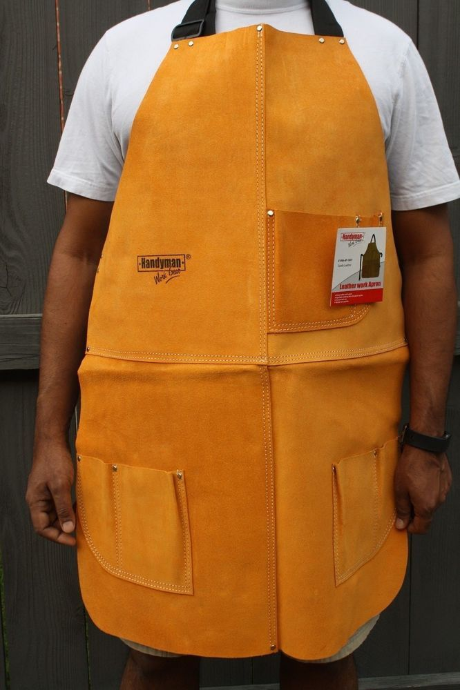 """Leather Welding Apron Heat Resistant work safety insulated bib with pockets 34"""" #UnbrandedGeneric"""
