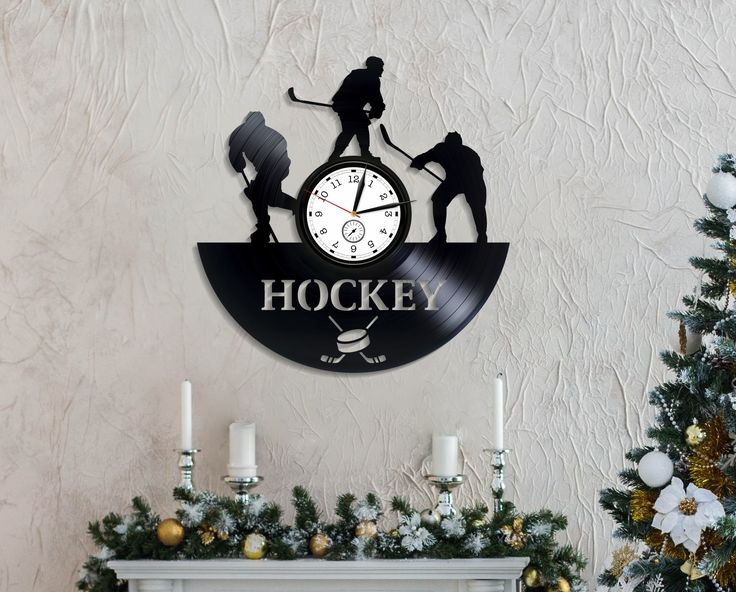 Ice Hockey Sport Game LP Clock Vintage Vinyl Record Birthday Gift Idea For Boyfriend Hockey Gift For Boys Hockey Sport Decal Handmade Clock
