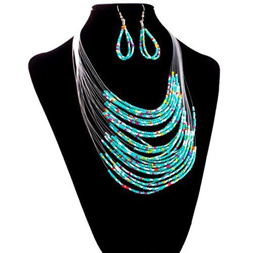 Susenstone Jewelry Multicolor Multi-layer Resin Beads Necklaces and Earrings Set.More info for fashion anklets;crystal anklets online;diamond anklet;gold anklet;buy silver anklets online could be found at the image url.(This is an Amazon affiliate link and I receive a commission for the sales) #goldanklet