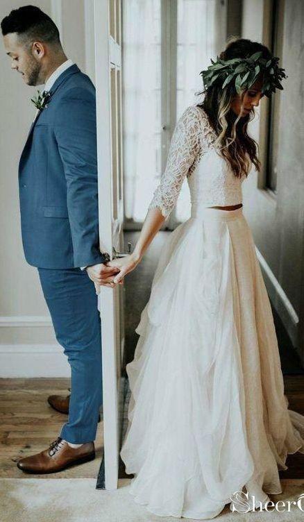 3/4 Ärmel Spitze Elfenbein Chiffon Rustikale Brautkleider Günstige Zweiteiler …   – Hochzeitskleid Fotos