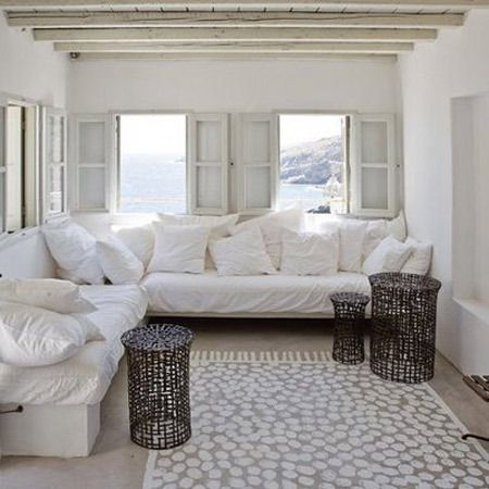 sweet shutters: Paintings Concrete Floors, Idea, Living Rooms, The View, Paintings Rugs, White Rooms, Beaches Houses, Paintings Floors, Floors Rugs