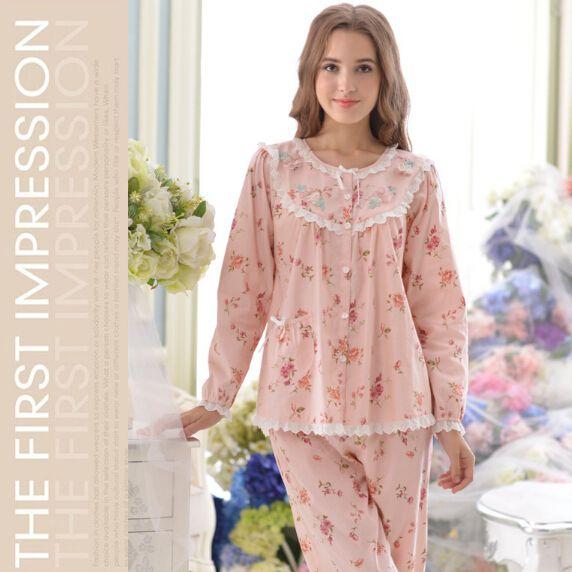 Barato Rosa Floral pijamas laço Embellished 2016 novo 100% algodão feminino pijama frete grátis ( Top + calças ), Compro Qualidade Conjuntos de Pijama diretamente de fornecedores da China:                                              &nb