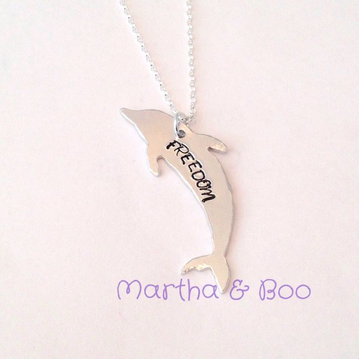Dolphin necklace, dolphin pendant, poirpoise jewellery, hand stamped, FREEDOM, custom jewelry, personalised gift, unique necklace by MarthaAndBoo on Etsy https://www.etsy.com/listing/232105523/dolphin-necklace-dolphin-pendant