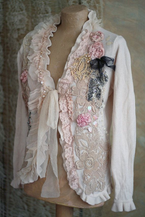 Reserved--- Dandy - romantic baroque inspired feminine jacket with ornate  laces and embroidery