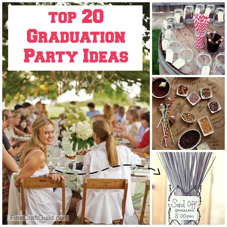 The 20 Best Graduation Party Ideas by FineCraftGuild.com -- These are AWESOME ideas here, so doable, won't cost a lot of $ and are ADORABLE/ BEAUTIFUL/ FUN. Pin this if you have kids about to graduate. You'll be glad you did
