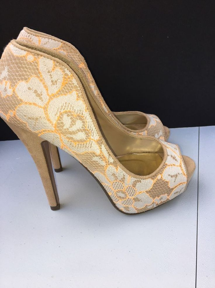 Shi by Journey's Peeptoe Pumps Stilettos Nude w/ Lace Overlay Ladies Shoes Sz 7 #ShibyJourney #Stilettos