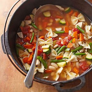 This easy soup recipe is low-calorie and healthy, with lots of protein and fiber! Vegetables and cannellini beans mix with bow tie pasta that make a super yummy soup for lunch or dinner.