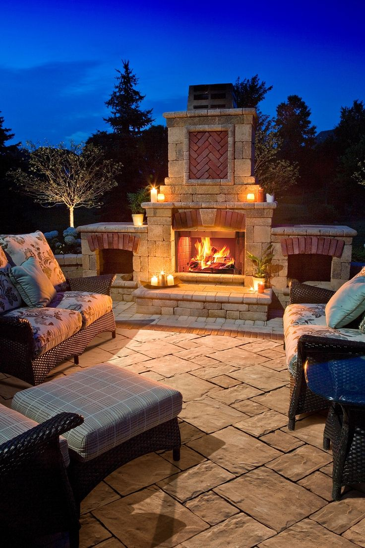 Thornbury™ patio with fireplace from Unilock for entertaining and relaxing