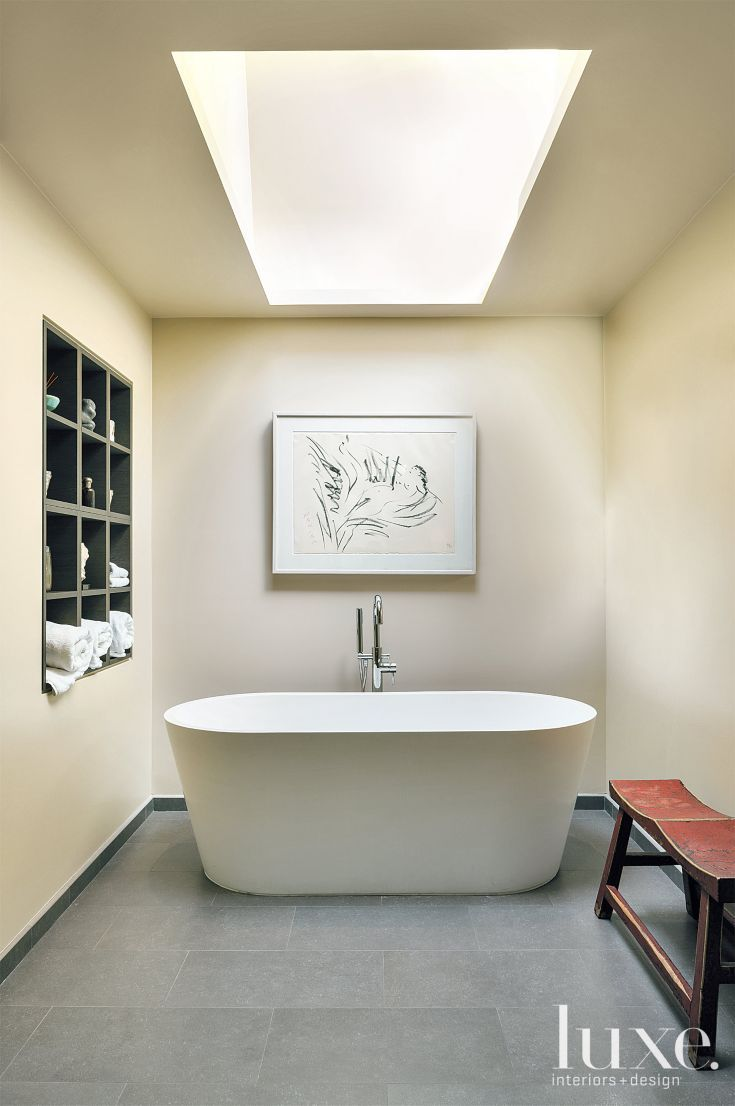 pictures to hang in master bathroom%0A Contemporary White Master Bath