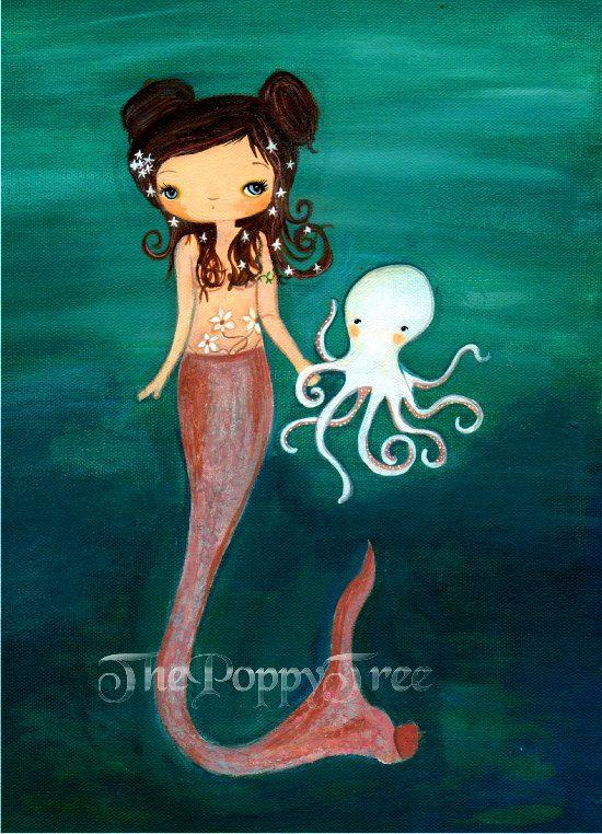 Mermaid Print---Nautical Girl Octopus Children Wall Art---Sea Friends 5 x 7