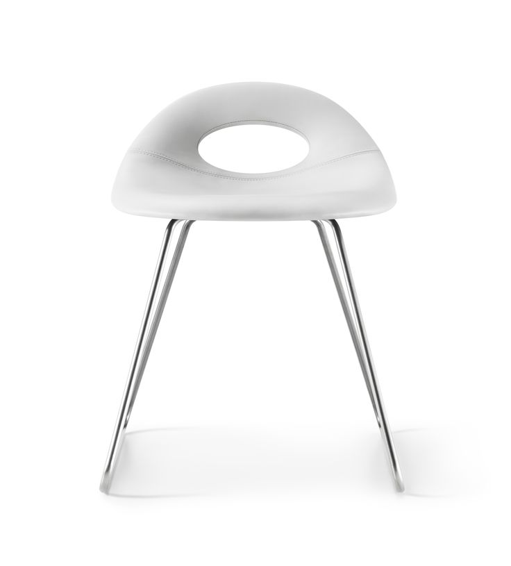 Full padded white and low height SayO Bar Stool with metal legs. May be acquired from www.sayo.dk