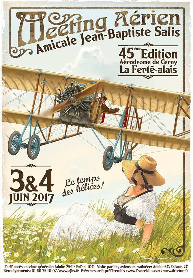 Poster advertising an Air Meeting at Cerney La Ferté Alais Airfield on 3rd & 4th June 2017