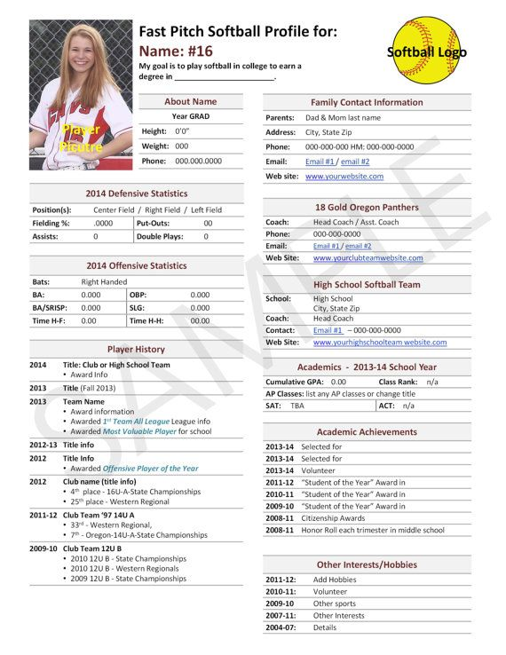 Fast Pitch Softball, Player Profile Template, Used for College - soccer player resume