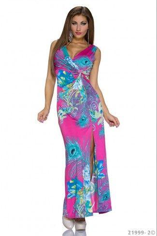 Μάξι φόρεμα με σκίσιμο στα πλάγια - Ροζ Πολύχρωμο