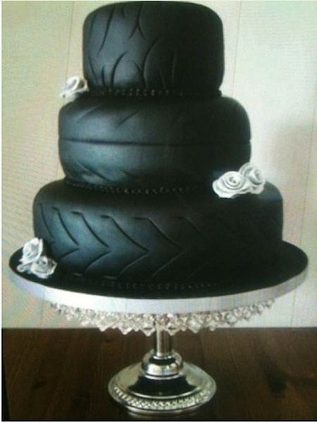 Creative Use of Tires Wedding Cake... cuz, really, when you think rubber  don't you immediately think YUM?!