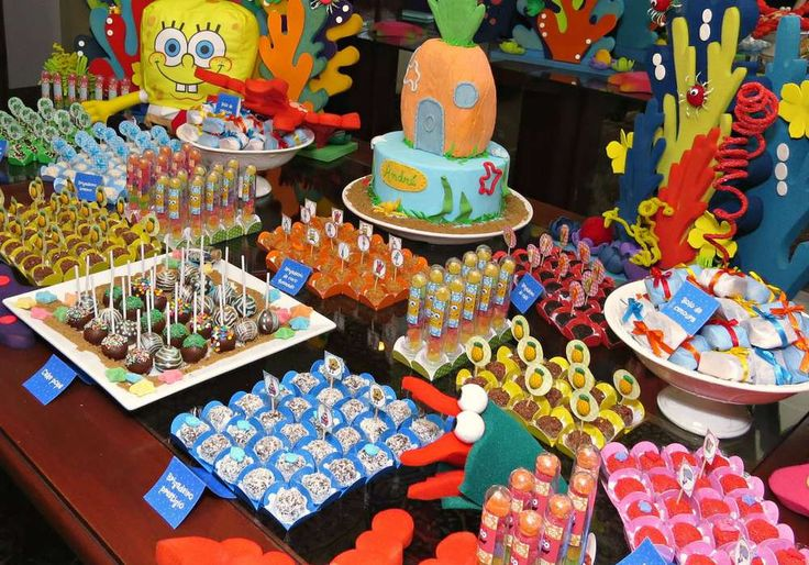 Sponge Bob birthday party dessert table! See more party planning ideas at CatchMyParty.com!