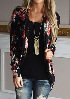Floral Printed Cardigan Without Necklace #fairyseason