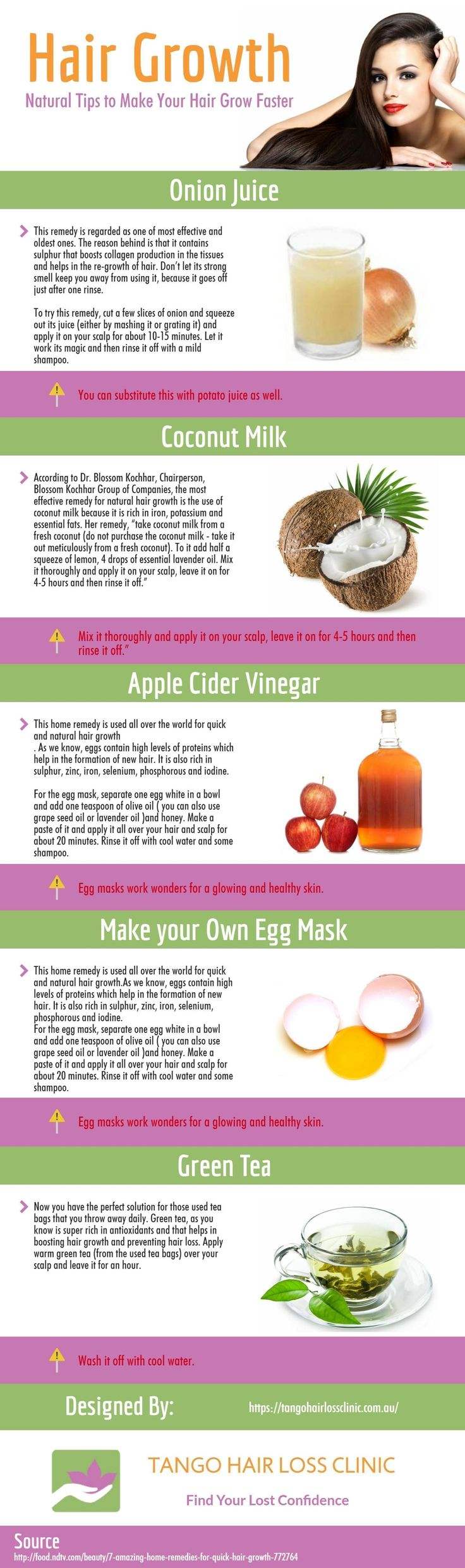 The following infographic is designed by Tango Hair Loss Clinic. Hair grows on its own, however, hair growth can be affected by the way you treat and care for it. If you want to grow long beautiful hair, what you must follow some rules and learn to take care of your hair. This infographic gives 5 good tips for making hair grow faster. #hairlossinfographic #haircaregrowth #hairlosstips
