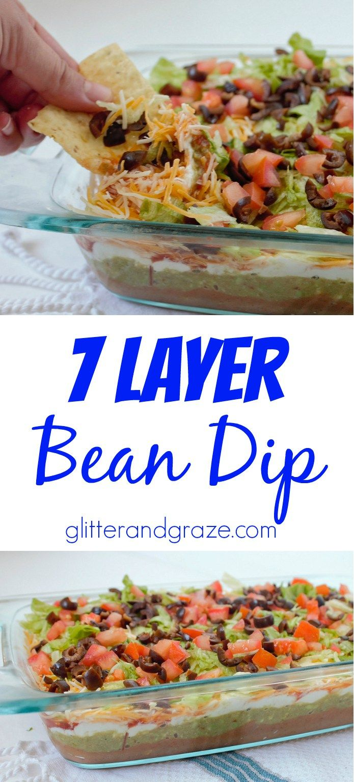 This 7 layer bean dip is the perfect dip for your next football party or any party. The mix of multiple flavors all layered in one combined perfectly for a taste bud treat