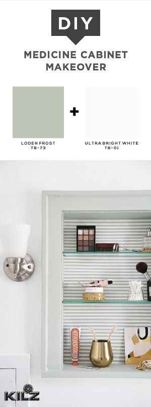 This DIY medicine cabinet makeover is one weekend project that can completely transform your entire bathroom. Erin, of Francois et Moi, shows you how with her easy tutorial. Simply use KILZ Tribute Paint & Primer In One in Loden Frost and Ultra Bright White to create a nautical style. The gray and white stripes add a fun twist to the neutral color palette in Erin's home.