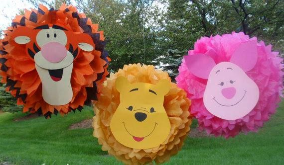 Decorar con Pompones de Papel personajes Winnie the Pooh