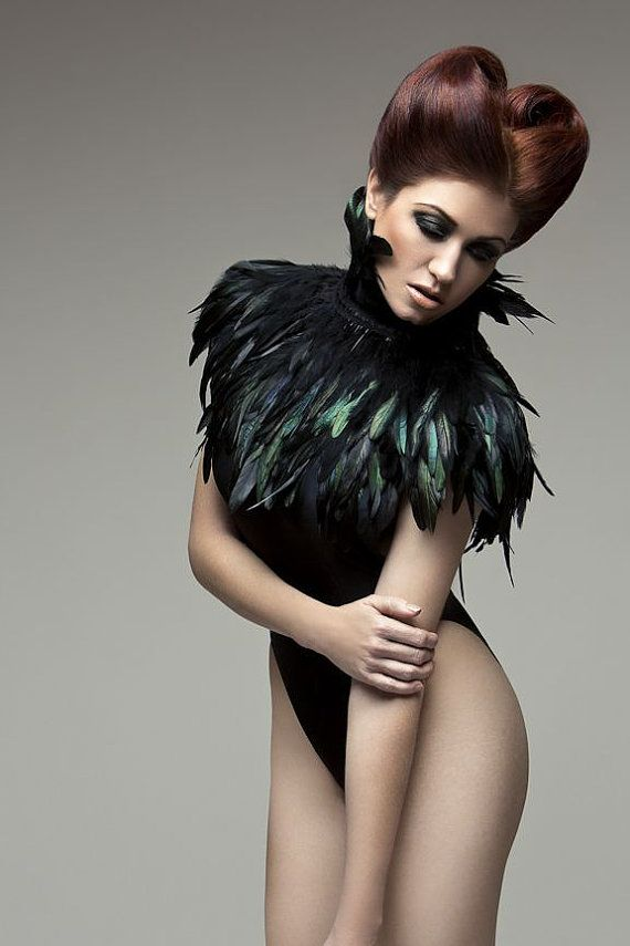 Feather capelet with high collar or feather shoulder wrap shrug Luxurious black feather cape Versatile feather accessory