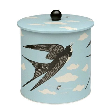 John Hanna storage biscuit barrel tin. Removable, airtight lids (no stale cookies!) Pretty birds & clouds illustration by John Hanna. Soft satin finish. Home ware & decor gift ideas