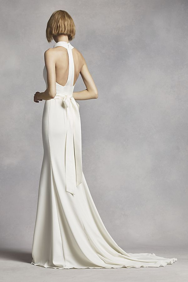 White by Vera Wang High Neck Halter Wedding Dress | David\'s Bridal ...