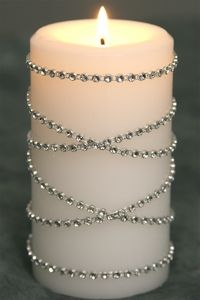 Diamond wrap for candles...I want to do this! I'm starting the wedding planning. We are going to try and go for October next year. :)