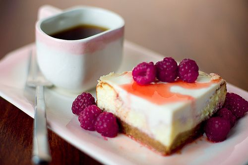 Cheese cake with raspberries and coffee