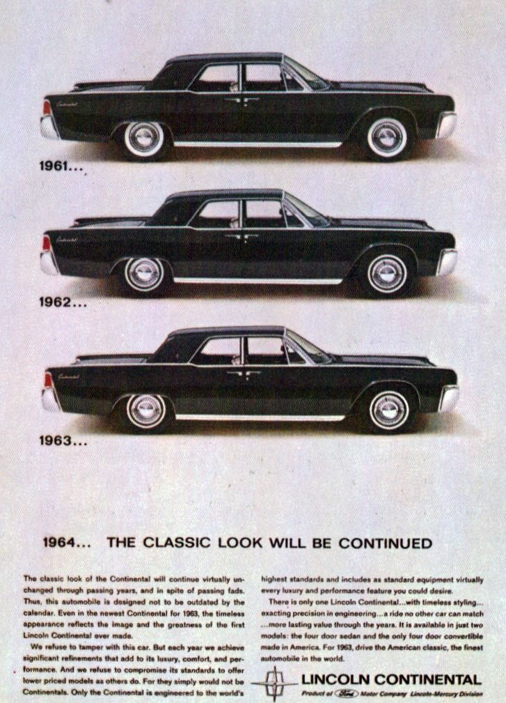 1964 lincoln continental ad with suicide rear