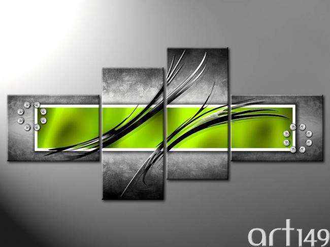tableau abstrait gris et vert                                                                                                                                                      Plus
