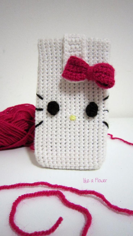 Hello Kitty crochet cover mobile phone