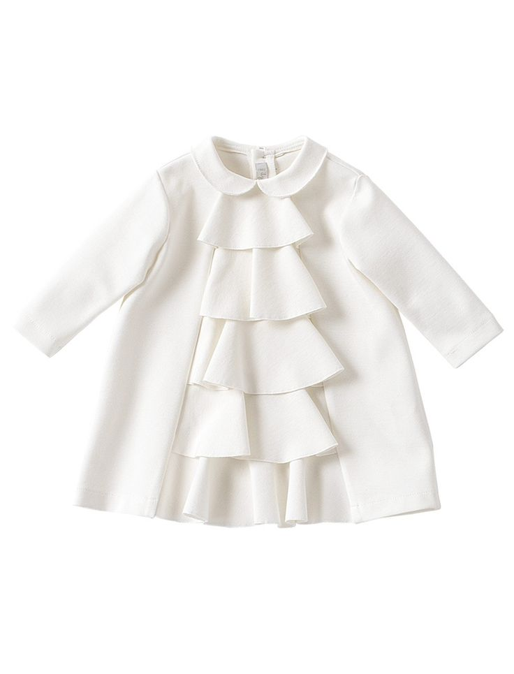 Milk white jersey girls dress with frills from Il Gufo