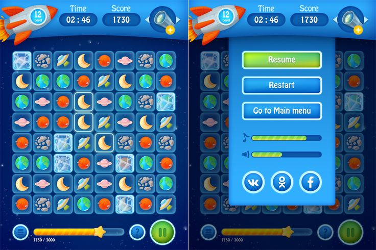 Graphic concept and game interface for space match-3 game.