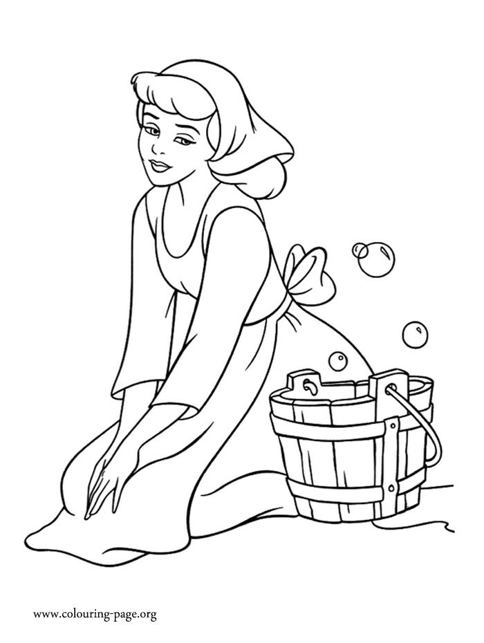 lady tremaine forces cinderella to work as a housemaid how about to print and color