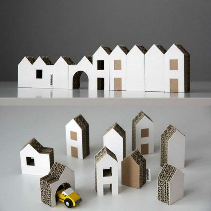 New! Set of Nine Small Cardboard Houses