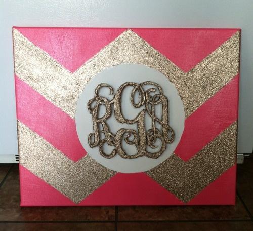 DIY Chevron Canvas with Monogram