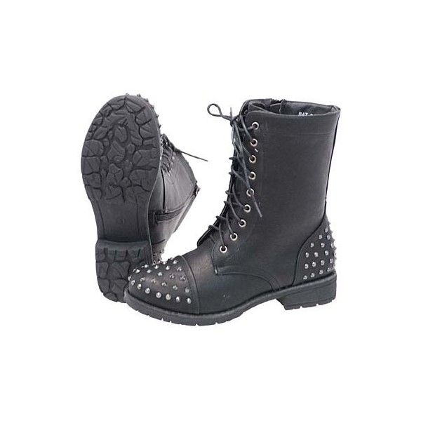 Womens Combat Boots with Gun Metal Studs ($45) ❤ liked on Polyvore featuring shoes, boots, army boots, combat booties, lacing combat boots, lace up boots i bike shoes