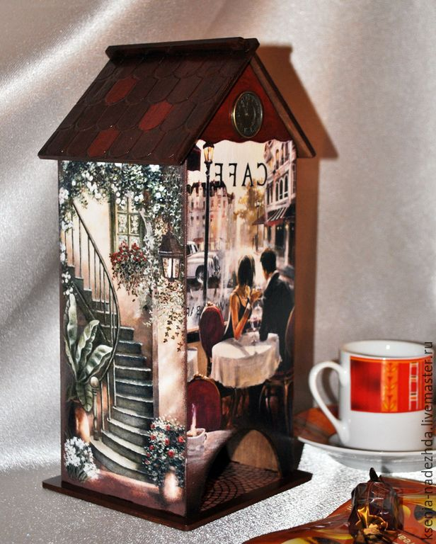 """Купить Чайный домик """"Свидание в кафе"""" - чайный домик, чайный домик декупаж, короб для чая"""