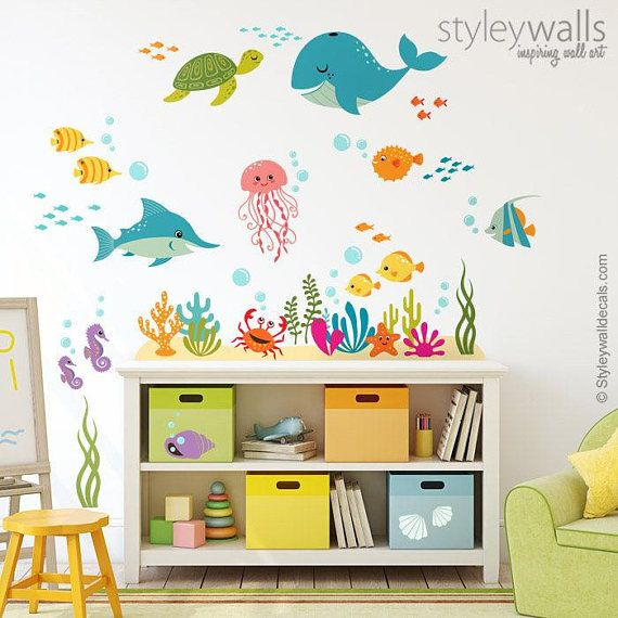Seahorses Girls Wall Decal Kids Wall Decal Underwater world sea life Wall decal Wall Sticker- Large Kids Wall Decals Seahorse