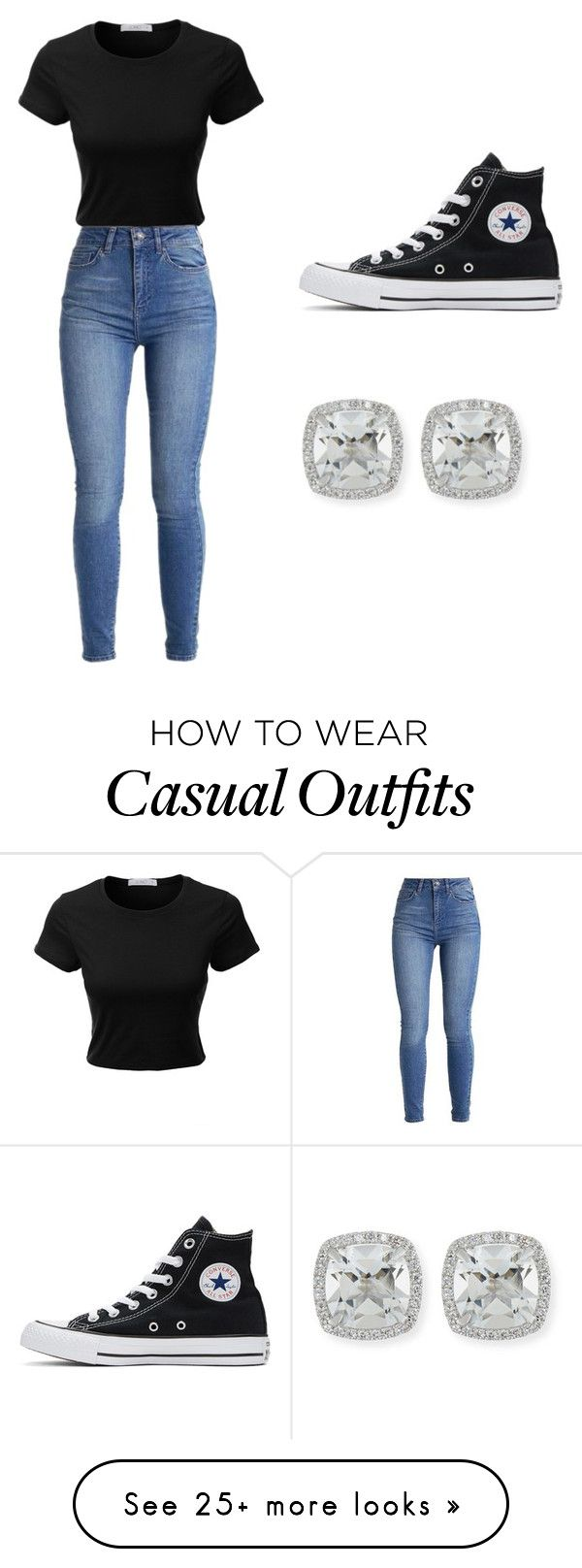 """Casual but cute"" by marie-jns0404 on Polyvore featuring LE3NO, Converse and Frederic Sage"