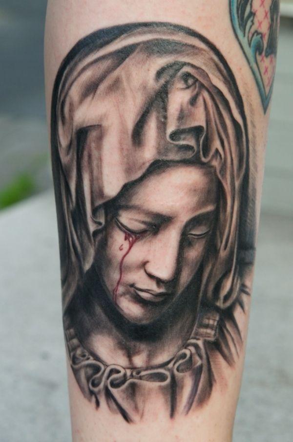 jesusand religous tattoos | crying virgin mary tattoo 15 Holy Christian Tattoos
